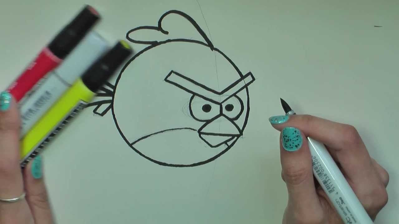 How To Draw Red Angry Birds In Pencil